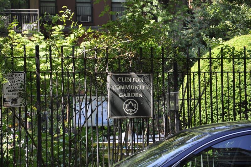 New York, am 2. Juli: Clinton Garden in Midtown Manhattan von New York City in Vereinigten Staaten lizenzfreie stockfotografie
