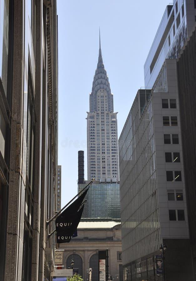 New York, 2 Juli: Cryslertoren in Uit het stadscentrum Manhattan van de Stad van New York in Verenigde Staten stock fotografie