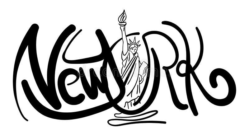 New York kalligrafi stock illustrationer