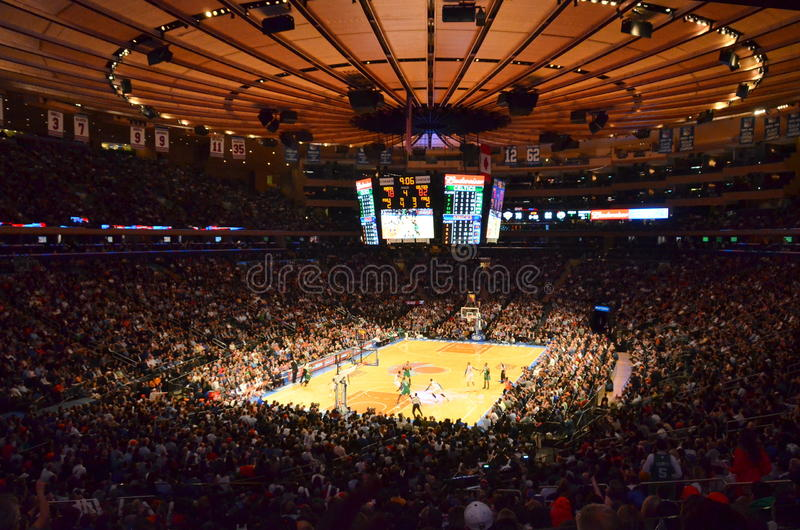 New York Knicks in Madison Square Garden. New York Knicks at Madison Square Garden with view of the crowd