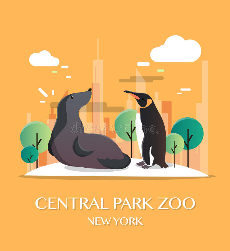 New york landmark Central Park Zoo vector illustration