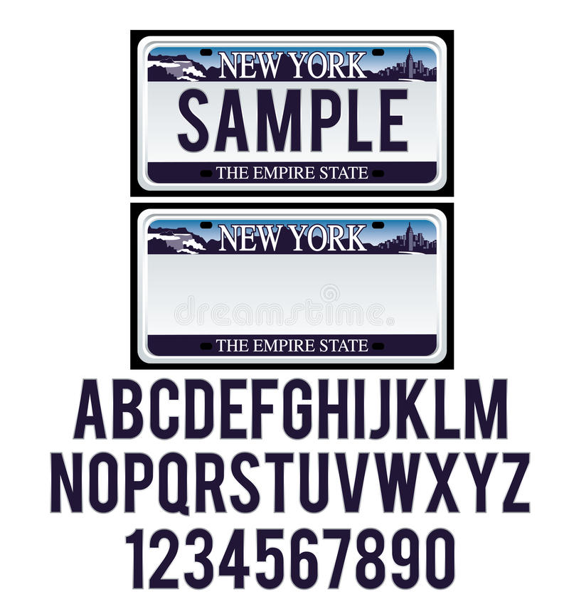 New York License Plate. With isolated letters royalty free illustration