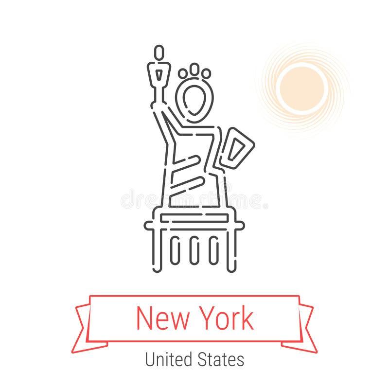 New York, linha ícone do vetor do Estados Unidos ilustração do vetor
