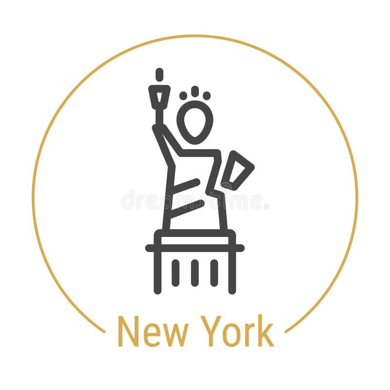New York, linha ícone do vetor do Estados Unidos ilustração stock