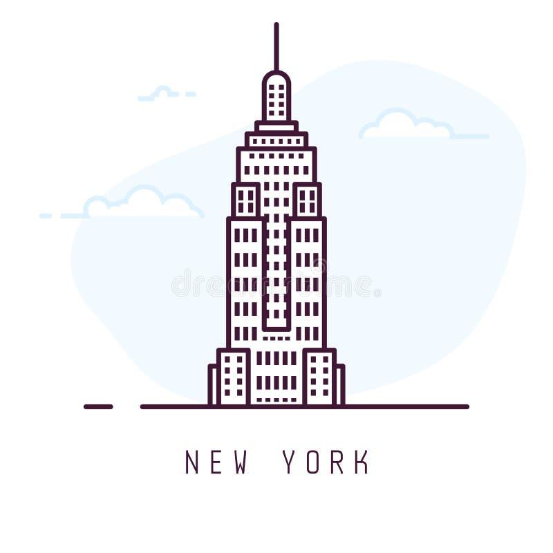 New York linje stil vektor illustrationer
