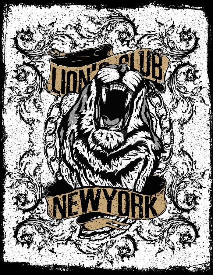 New york lion t-shirt graphic stock illustration