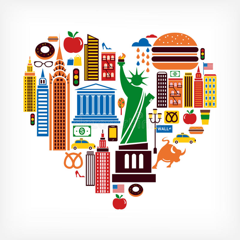 New York love - heart shape with many vector icons. New York love - heart shape with set of vector icons stock illustration