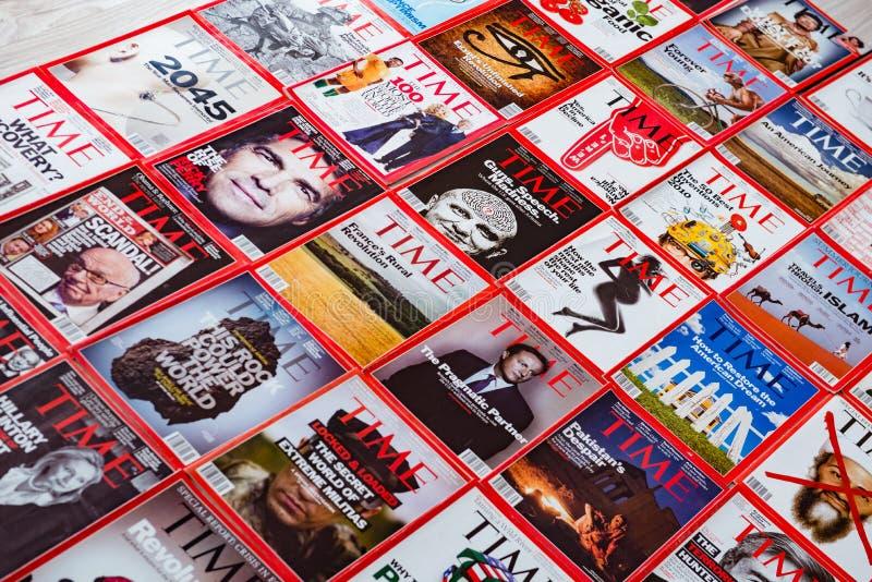 New York - 7. März 2017: Zeitschrift Time am 7. März in New York, lizenzfreies stockbild