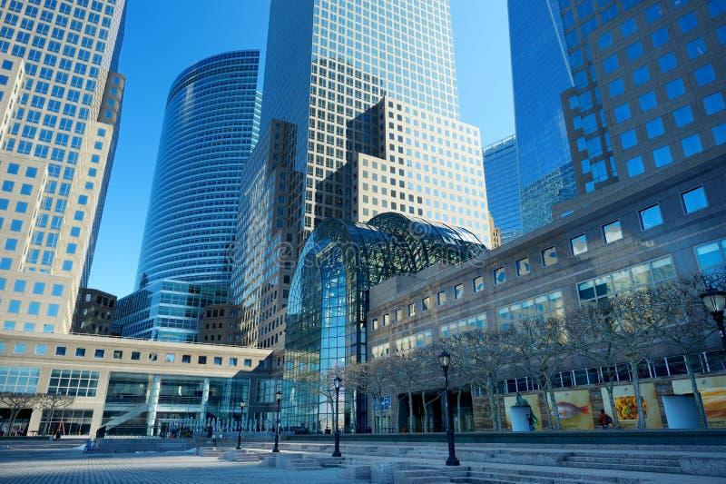 NEW YORK - MAART 22, 2015: Brookfieldplaats, als Wereld Financieel die nog Centrum wordt bedoeld, in de Stad die nei wordt gevest stock fotografie