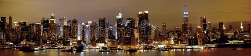 New York Manhattan bij Nacht royalty-vrije stock foto