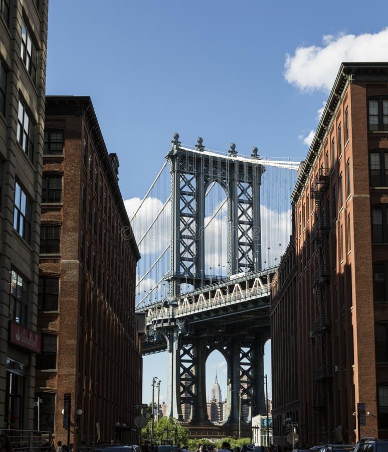 New York, Manhattan Bridge DUMBO. New York, Manhattan Bridge and Dumbo neighborhood of Brooklyn stock images