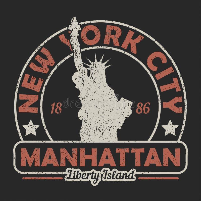 New York, Manhattan, het Standbeeld van Vrijheids grunge druk Uitstekende stedelijke grafisch voor t-shirt Origineel klerenontwer stock illustratie