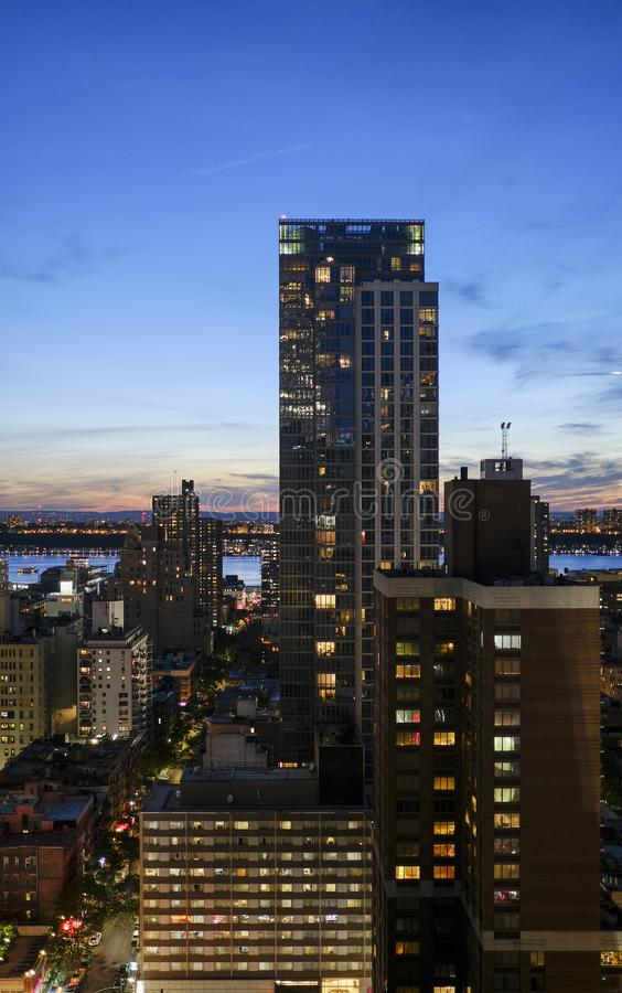 New York Manhattan night scene shot from a height stock images