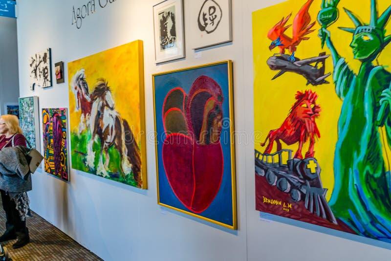 New York, Manhattan, Stati Uniti - manifestazione moderna e di arte contemporanea 7 aprile 2019 di Artexpo New York, pilastro 90  fotografie stock libere da diritti