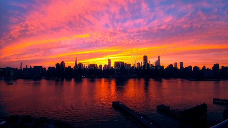 New York - Manhattan sunset view from Long Island City royalty free stock photos