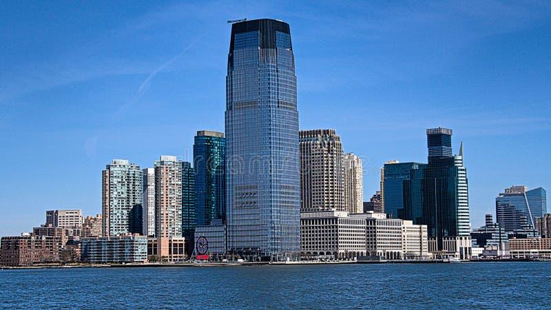 New York Manhattan, USA Sett från Liberty Island royaltyfri fotografi