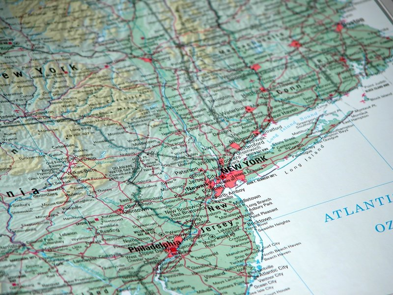 New York on the map royalty free stock photography