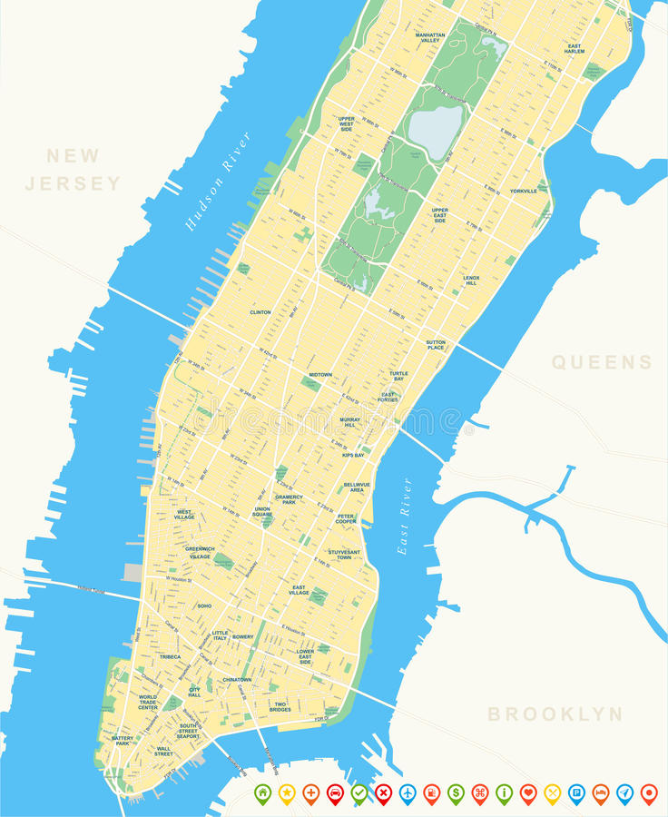 New York Map Lower And Mid Manhattan Stock Vector Illustration