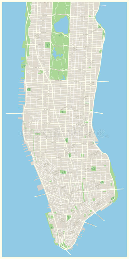 New York Map - Lower and Mid Manhattan. Highly detailed vector map of Lower and Mid Manhattan in New York including all streets, parks, names of subdistricts