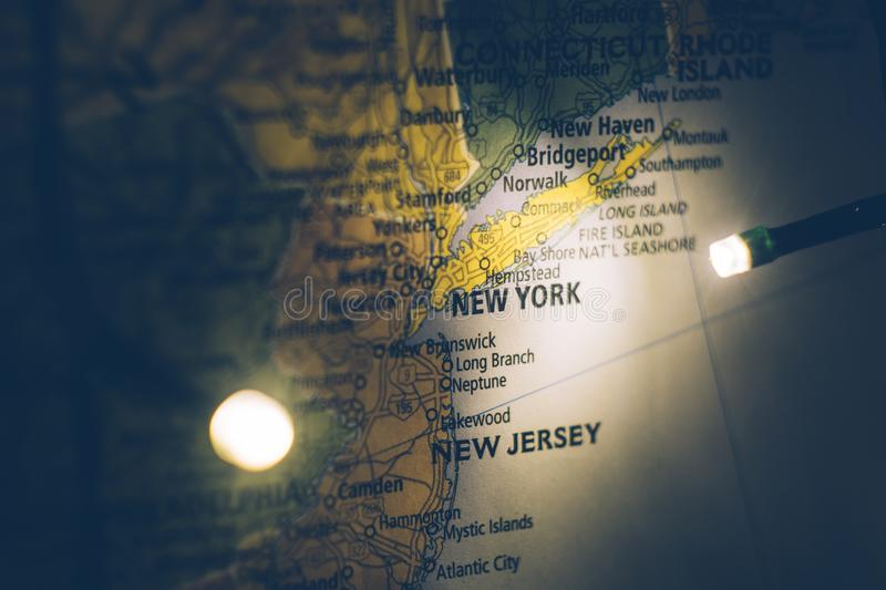 New York on the map of the United States. Travel concept royalty free stock photo
