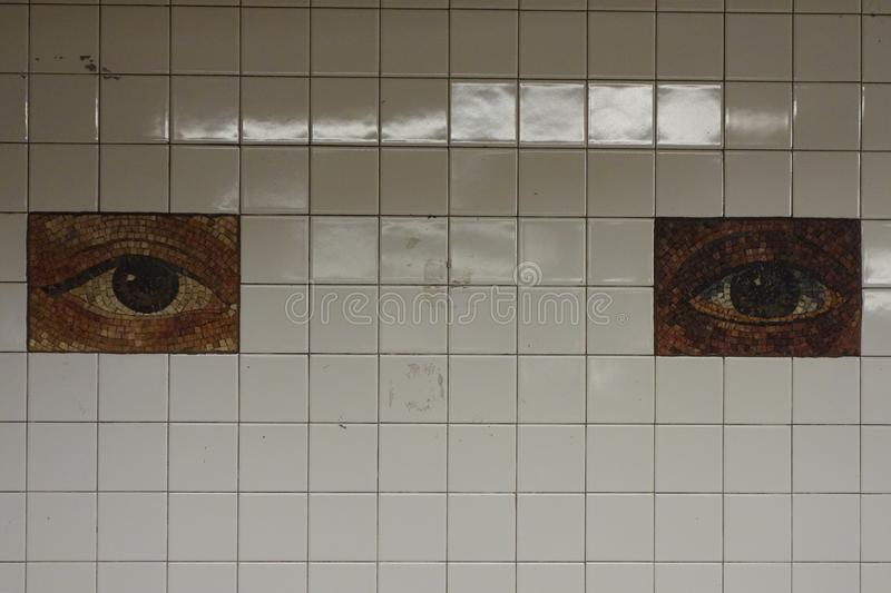 Subway Artwork `Oculus` at Chambers Street Subway station in Manhattan stock image