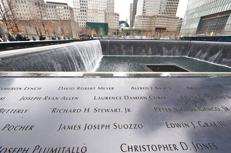 New York 9/11 Memorial at World Trade Center Ground Zero. NEW YORK CITY - MARCH 31: New York 9/11 Memorial at World Trade Center Ground Zero on March 31, 2014 royalty free stock photos