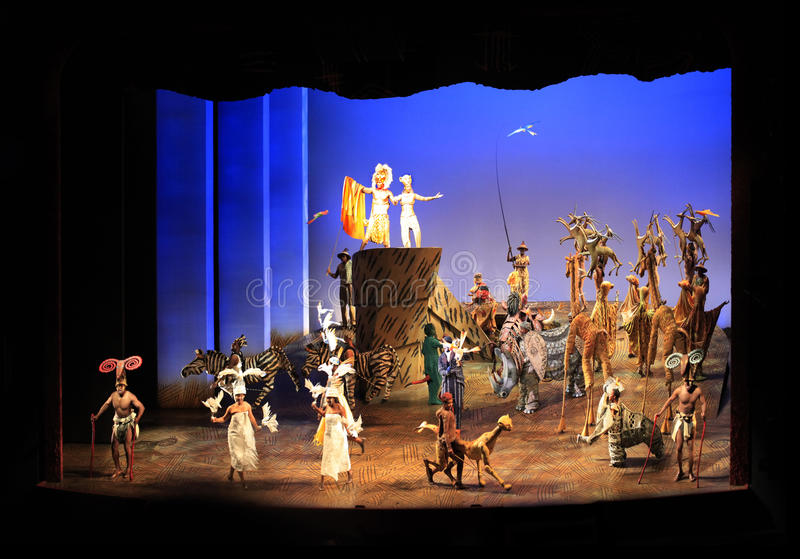 New York. Minskoff Theatre. Lionkonungen royaltyfria foton