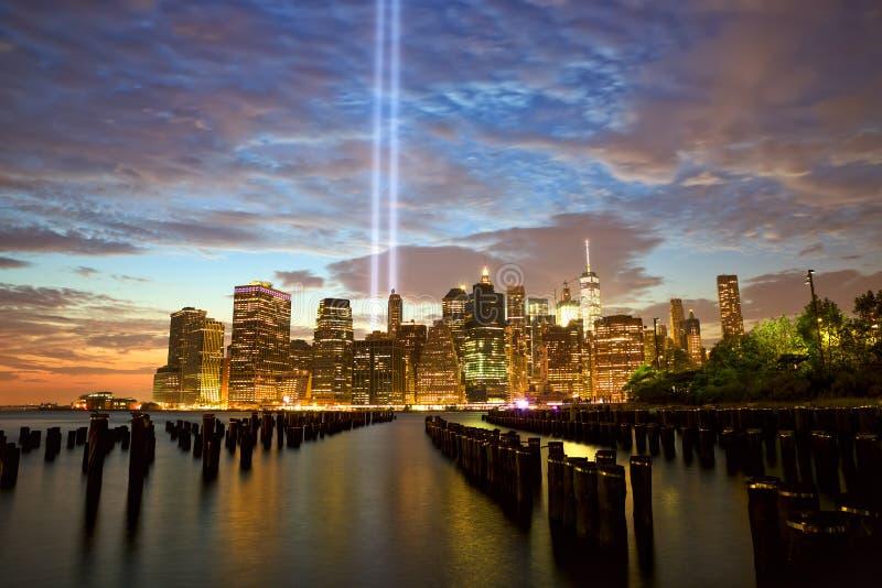 New York mit Tribut im Licht stockfoto