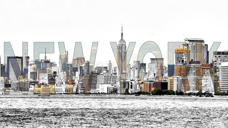 New York Mixed Media - photo with sketch effect stock photos