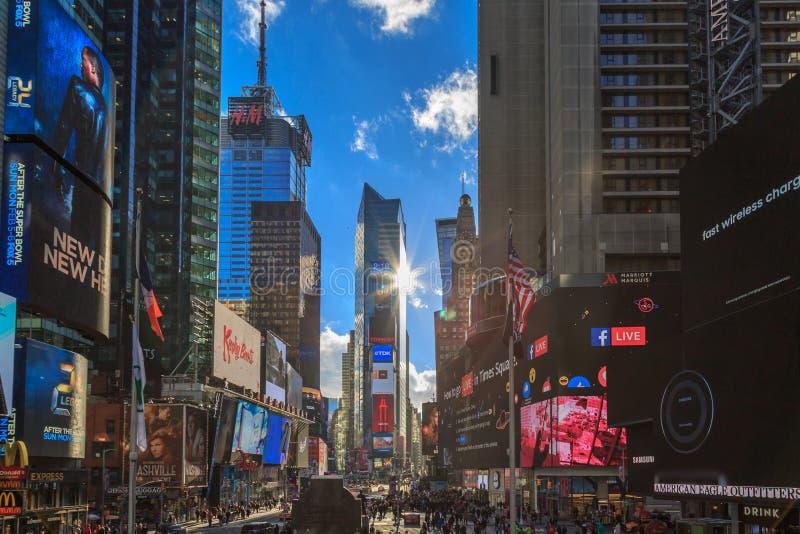 New York, neues York 4. Januar 2017 Setzt Zeit squa fest lizenzfreie stockfotografie