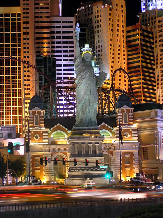 New York New York Casino in Las Vegas by night stock photos