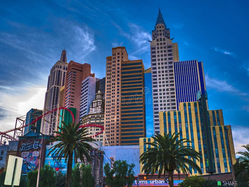 New York-New York Hotel & Casino, Las Vegas, Nevada, United States of America. Sunset evening royalty free stock photography