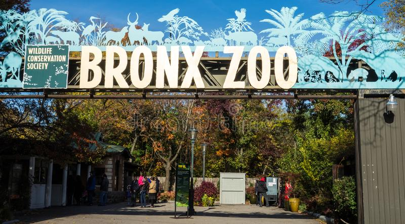 New York, New York / Nov 4, 2014: Entrance to the zoo royalty free stock image