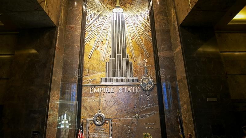 NEW YORK, NEW YORK, USA - SEPTEMBER 14, 2015: interior shot of the foyer of the empire state building, ny stock image