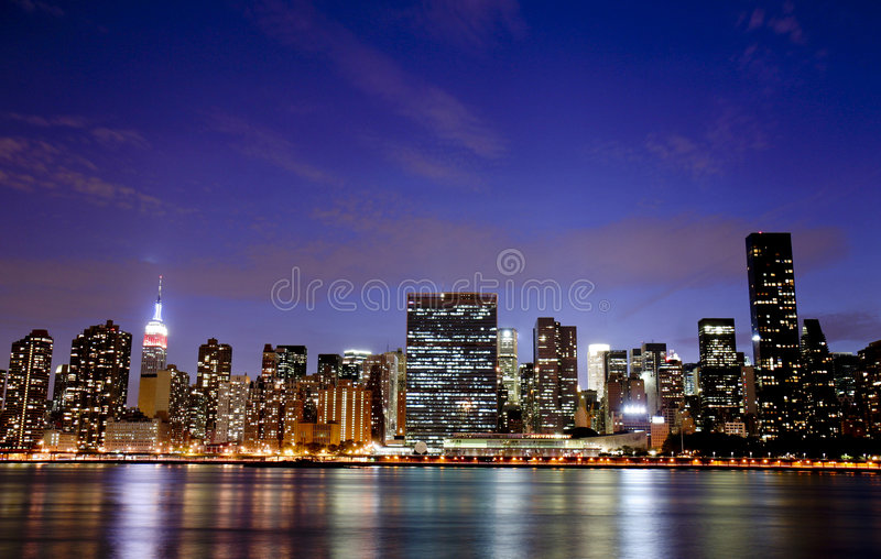 Download New York at night stock photo. Image of night, cloud, building - 4735450