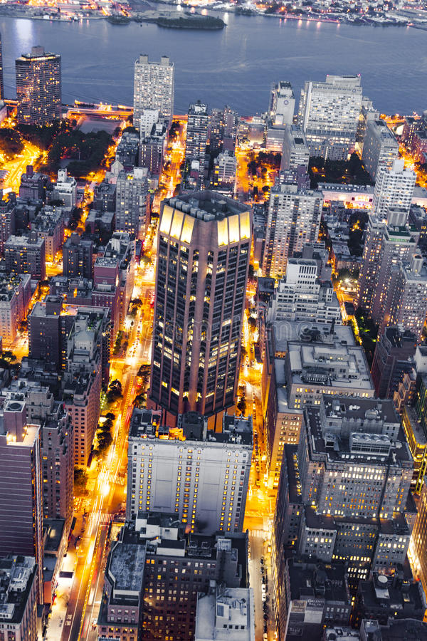 New York by night from Empire State Building. NEW YORK, USA - JULY 9, 2010: New York in the late evening from Empire State Building stock image