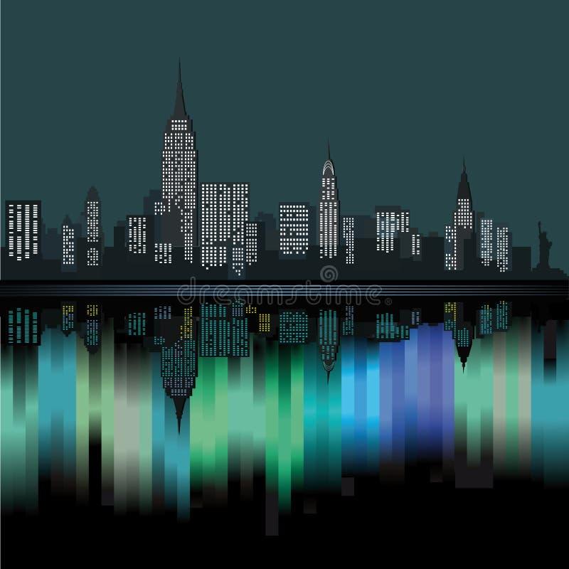 New York at night stock illustration