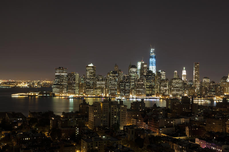 New York by night - new WTC in blue royalty free stock photography
