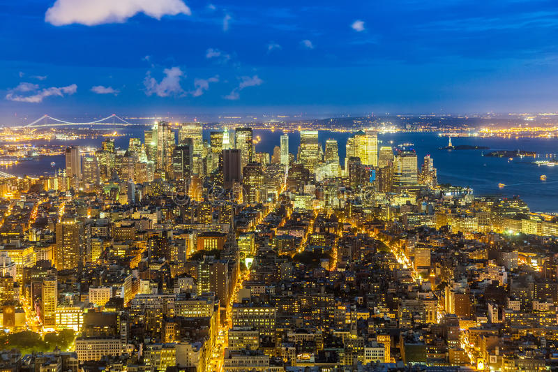 New York by night. Urban skyline of New York by night stock images