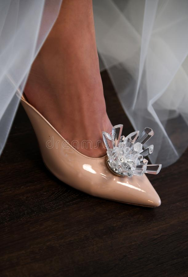 A model posing during Galia Lahav Spring 2020 bridal fashion presentation stock images