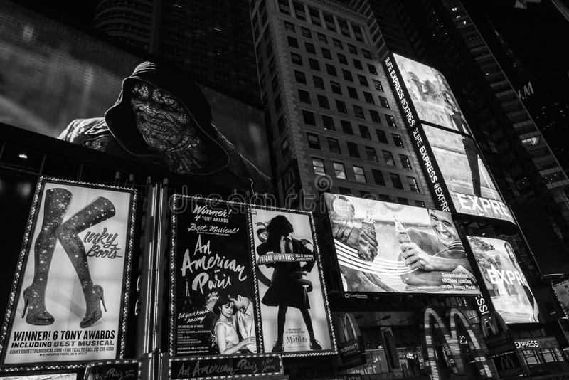 Times Square, New York City. New York, NY: August 28, 2016: New York Times Square large LED signs/billboards. On an average day, 360, 000 people visit Times stock photos