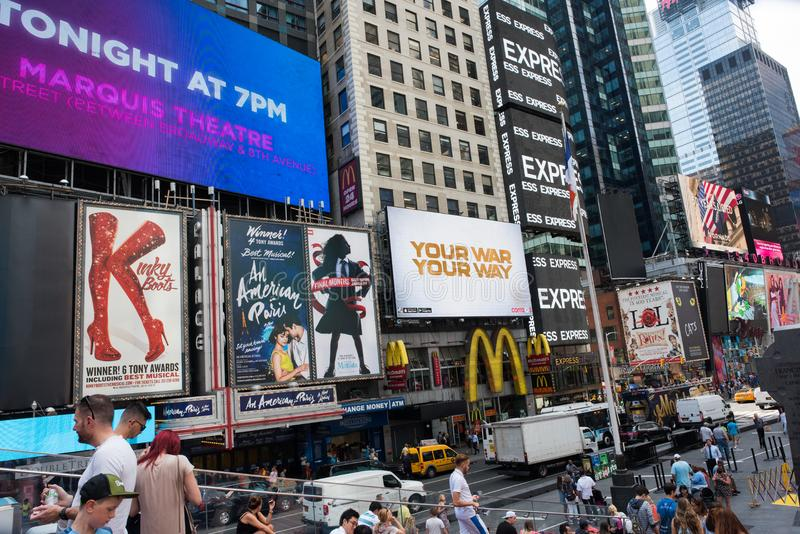 Times Square, New York City. New York, NY: August 28, 2016: New York Times Square large LED signs/billboards. On an average day, 360,000 people visit Times royalty free stock images