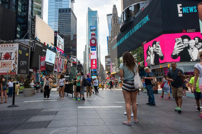Times Square, New York City. New York, NY: August 28, 2016: New York Times Square large LED signs/billboards. On an average day, 360,000 people visit Times stock photography
