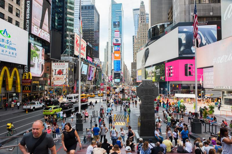 Times Square, New York City. New York, NY: August 28, 2016: New York Times Square large LED signs/billboards. On an average day, 360,000 people visit Times stock image
