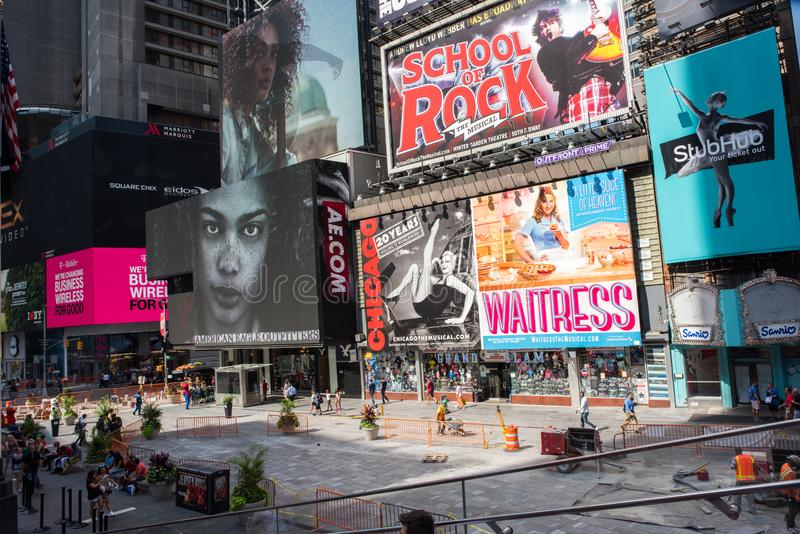 Times Square, New York City. New York, NY: August 28, 2016: New York Times Square large LED signs/billboards. On an average day, 360,000 people visit Times royalty free stock photos