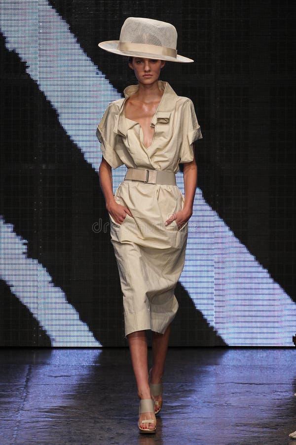 NEW YORK, NY - 8 DE SETEMBRO: Maartje Verhoef modelo anda a pista de decolagem na coleção da forma de Donna Karan Spring 2015 fotos de stock royalty free