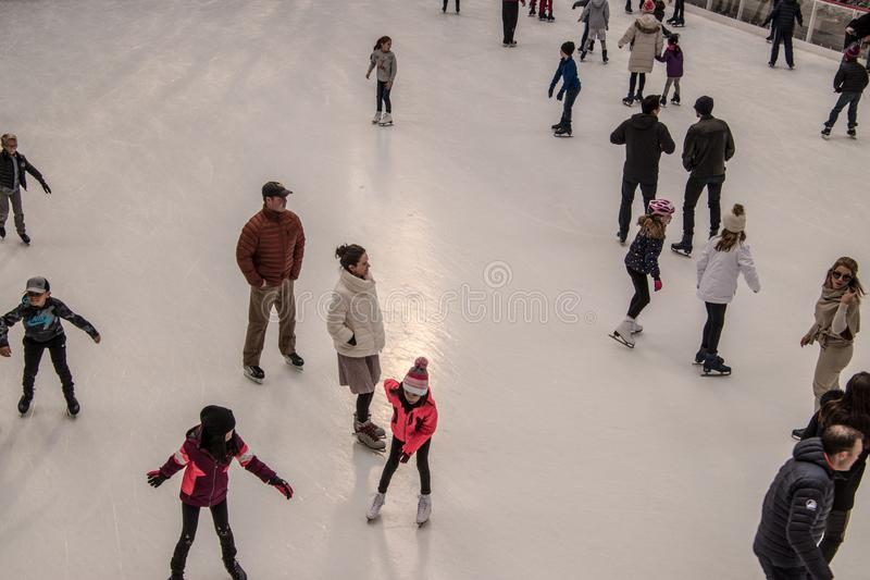 Ice Skating at Rockefeller Center in New York stock images