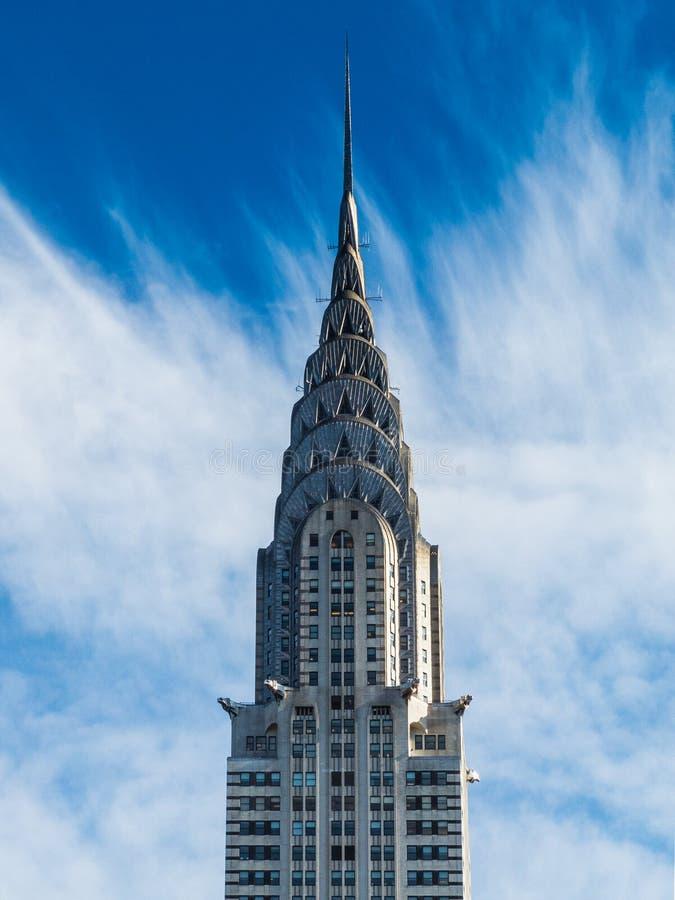 New York NY/eniga Tillstånd-Januari 30 2017: Sikt av överkanten av den Chrysler byggnaden arkivbilder