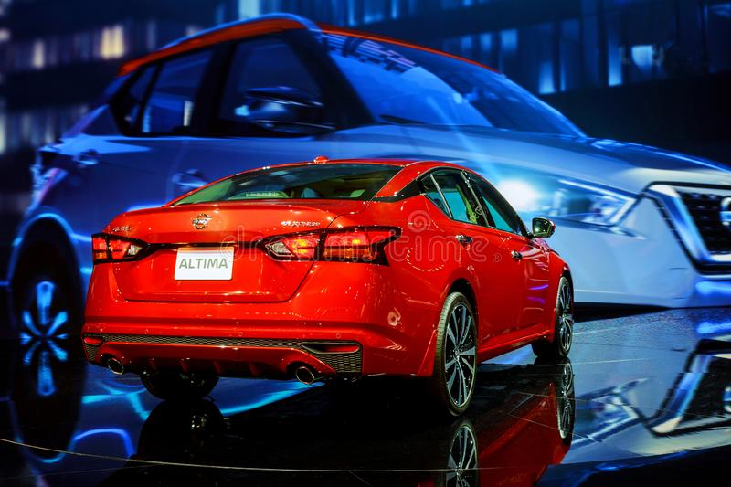 New York, NY Etats-Unis - 20 AVRIL 2019 : Voiture de Nissan Altima sur le New York International Auto Show d'affichage chez Jacob photographie stock