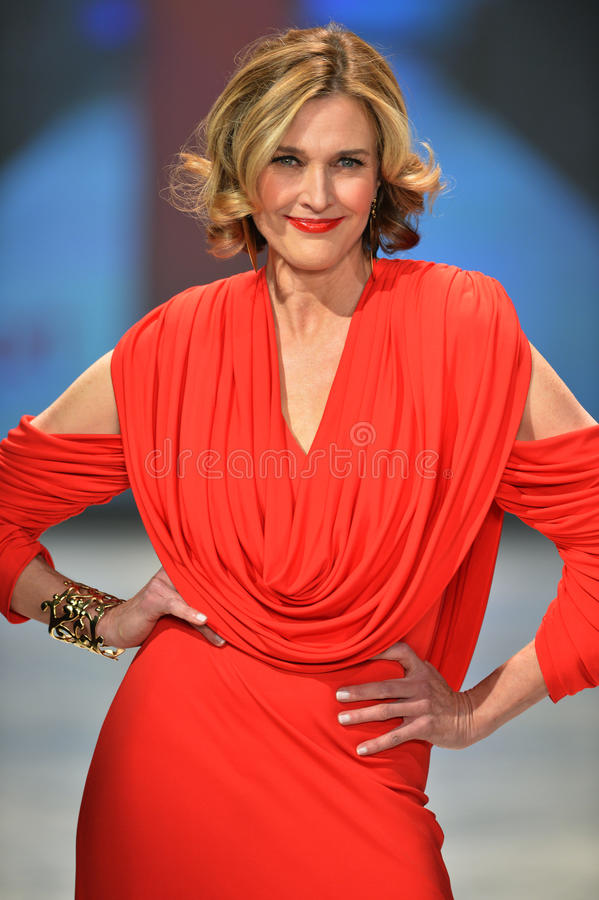 NEW YORK, NY - FEBRUARY 06: Brenda Strong wearing Marc Bouwer walks the runway at The Heart Truth's Red Dress Collection during Fa stock photography